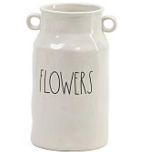 RAE DUNN White Ceramic Farmhouse Flowers Vase NWT